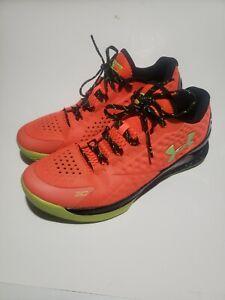 Under Armour Steph Curry 1 Low Red Orange Volt Black 1269048-811 Men US 12 Shoes