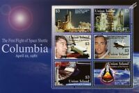 1981 First Flight of NASA Space Shuttle COLUMBIA Stamp Sheet (2006 Union Island)