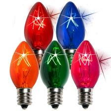 Box of 75 C7 Twinkle Multicolor Triple Dipped Transparent Christmas Bulbs