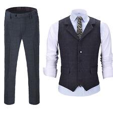 Mens Suit Tweed Waistcoat+Pants Retro Vintage Vest Notch Lapel Groomsman S-3XL++