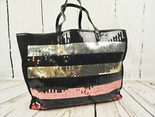 Large Black Canvas Red Pink Gold Silver Sequined Tote Bag From Victorias Secret