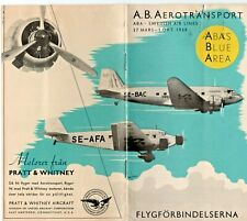A. B.A.  AEROTRANSPORT SWEDISH AIRLINES TIMETABLE SCHEDULE 1938