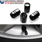 4 Black Aluminum Metal Wheel Tire Valve Stem Car-truck Air Caps Covers