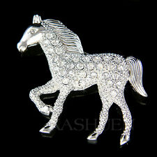 Cowgirl Rider HORSE Made with Swarovski Western Equestrian RODEO Stallion Brooch
