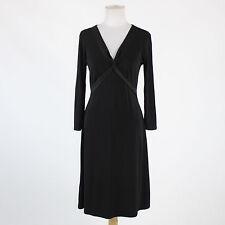 Black BCBG empire waist 3/4 sleeve V-neck knee-length stretch satin trim dress M