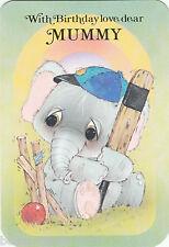 Vintage Happy Birthday Mummy Cute Greeting Card ~ Big Eyed Elephant Cricketer