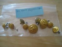 9 US Navy  Eagle, Stars and Anchor Buttons, gold tone Waterbury Co.