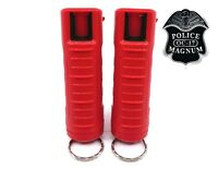 2 PACK Police Magnum pepper spray 1/2oz Red Molded Keychain Defense Security