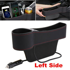 1x Black Car Seat Gap Caddy Box Pocket Storage Organizer Holder w/Dual USB