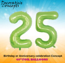 """Giant 25th Birthday Party 40"""" Foil Balloon Helium Decoration Age 25 Lime Green"""