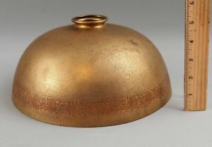 RARE Antique Tiffany Studios Gold Dore Bronze Arts, Crafts Lamp Bell Shade #1414