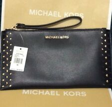 AUTH NWT $178 Michael Kors Jet Set Travel Large Studded Leather ZIP Clutch Black