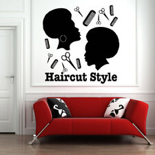 Vinyl Sticker Haircut Style Afro Salon Shop Barber Decal Wall Door Decor hi346