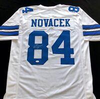Jay Novacek Signed Autograph White Football Jersey JSA COA Dallas Cowboys Great
