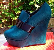 METALIKA Emerald Green Bow Front Detail High Wedge Heel Party Shoes Size 6 BNWB