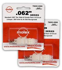 "Molex 76650-0069 .062"" 12 Circuit Power Plug Receptacle Socket Set Of ( 2 Set)"