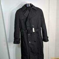 NWT DSCP Military US Army 2002 RAINCOAT Trench Coat Mens Size 42 Black w/ liner