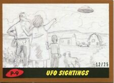 Mars Attacks The Revenge Bronze [25] Pencil Art Base Card P-9 UFO Sightings