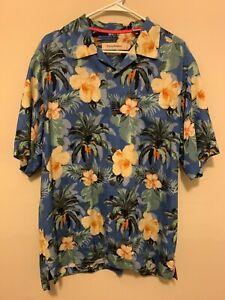 Tommy Bahama Blue Hawaiian Shirt 100% Silk Size Large Original Fit