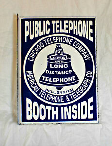 "Porcelain 2-Sided Flange Public Telephone Booth Sign 16"" X 12"""