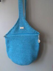 THE SAK ORIGINAL BRIGHT BLUE SHOULDER CROSS BODY HOBO BACKBACK BAG EXCELLENT