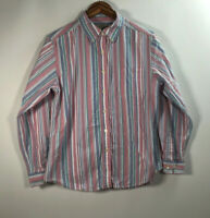 LL Bean Men's Size M Front Button Long Sleeve Stripes Multicolor Shirt