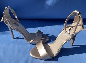 Top Shop New Size 6 Rose Gold Heeled Strappy Sandals With Ankle Buckle