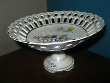 Porcelain Serving Dish w/ Removable Pedestal, Pearly White,Gold Trim,Scallop Rim