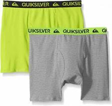 Quiksilver Boys Lime & Gray 2pk Solid Boxer Briefs Size 4/5 6/7 $18