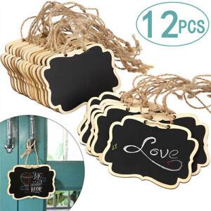 12pcs Hemp Rope Hanging Rectangle Chalkboards Mini Chalk Writing Message card