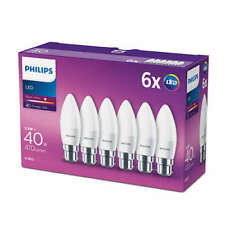 6 Pk Philips LED Candle Light Bulb Frosted B22 Bayonet 40w Warm White Lamp 470lm