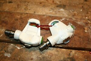 "Vintage Sampson Japan White 9/16"" Spindle Clipless Road Bike Cycling Pedals nice"
