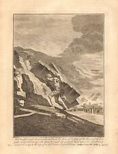 1770  ANTIQUE PRINT -BIBLE- AND SAMSON TOOK THE DOORS OF THE GATE OF THE CITY
