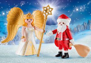 Playmobil Christmas Set 9498 Santa w/ Gifts Bag & Angel w/ Star Staff NEW NO BOX