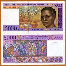 Madagascar, 5000 (5,000) Francs ND (1995), P-78b, UNC > Boy, Lemurs