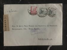 1937 La Coruna Spain Censored Official cover to Zurich Switzerland