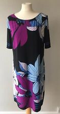 Ladies M&S Collection Floral Shift Dress Size 16 Black Blue Pink Occasion