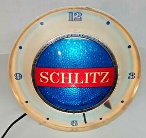 Vintage SCHLITZ Beer Motion Lighted Spinner Clock Bubble Beer Sign WORKS 1961