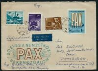 HUNGARY 1969 20th Anniv of Int Peace Movement PAX FDC Airmail to USA CDS