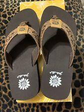 Yellow Box, Benji Girl's Flip Flops Dark Brown Size 2M New In Box
