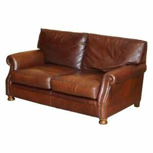 STUNNING VERY COMFORTABLE HERITAGE BROWN LEATHER TETRAD PRINCE TWO SEAT SOFA