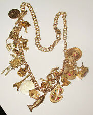 14K GOLD LARGE 78 GRAM 22 GOLD CHARM NECKLACE,STUNNING ONE OF A KIND.