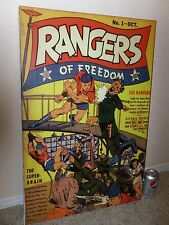RANGERS Of FREEDOM, No # 1, Golden Age, COMIC BOOK COVER, Giclee Canvas,  ART