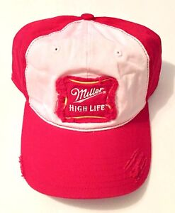 Miller High Life Red White Flex Fit Baseball Cap Hat - Adult Small/Medium Size