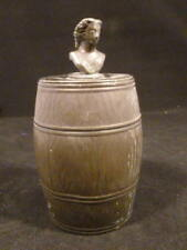 ANTIQUE TOBACCO JAR SILVER PLATE BARREL FIGURAL LADY BUST TOP LID RARE !!