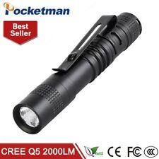 Mini Pen LED Flashlight Toch Q5 Portable Torch 2000LM Lamp Light Aluminum