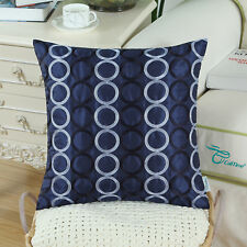 CaliTime Pillows Cushion Covers Shells Chain Embroidery Circles Ring 45 X 45cm