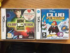 Nintendo DS 4 Games Brain Training,Jam Sessions,Club Penguin,Ben 10 Alien Boxed