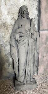 Jesus mit Lamm Skulptur Figur Kunst Sandstein Antik look Steinguß V 12 GRAU