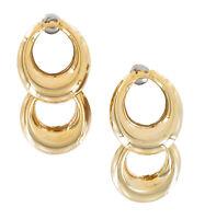Gold Tone Pierced Earrings Double Loop Drop Dangle Lighweight Vintage 1980S